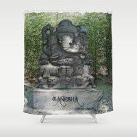 ganesha Shower Curtains featuring Ganesha by Lucia