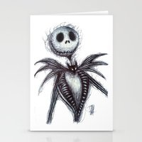 jack skellington Stationery Cards featuring Jack Skellington scribble by Patricia Pedroso