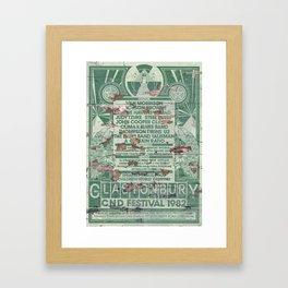 Distressed Glastonbury 1982 Poster Framed Art Print