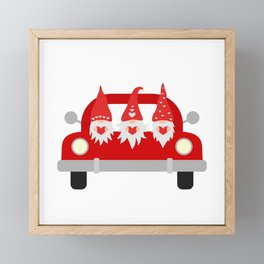 Valentines Day Truck and cute cartoon gnomes.  Framed Mini Art Print