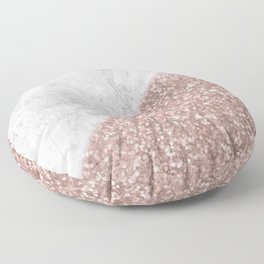 Rose Gold Glitter White Gray Marble Concrete Luxury II Floor Pillow