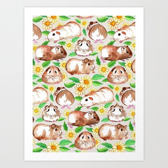 Guinea Pigs and Daisies in Watercolor Art Print