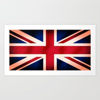 Union Jack UK British Grunge Flag  Art Print