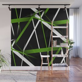 Seamless Grass Green and White Stripes on A Black Background Wall Mural