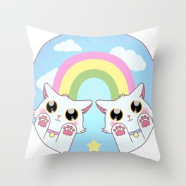 Pastel Cat Rainbow Throw Pillow