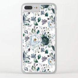 Botanical navy blue gray green watercolor peonies motif Clear iPhone Case