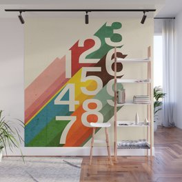 Retro Numbers Wall Mural