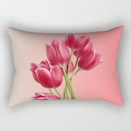 Beautiful Pink Tulips & Soft Background Rectangular Pillow