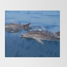 Mother and baby spotted dolphin Throw Blanket