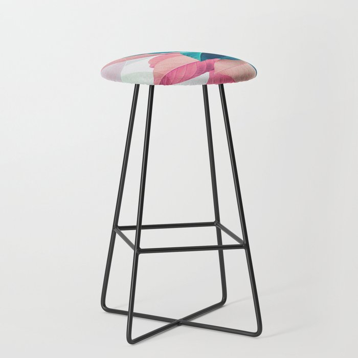 Pink and Blue Leaf Bar Stool