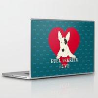 bull terrier Laptop & iPad Skins featuring Bull Terrier Love by ShaMiLa
