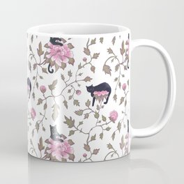 Black cats and paeony flowers Coffee Mug