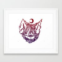 infamous Framed Art Prints featuring INFAMOUS BAT HEAD by Mark Christopher