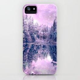 Pink Lavender Winter Wonderland : A Cold Winter's Night iPhone Case