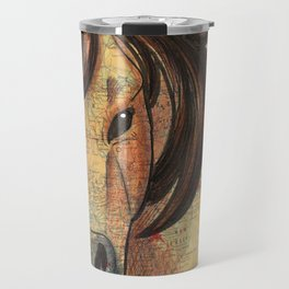 Buckskin Chincoteague Pony on Vintage Map Travel Mug