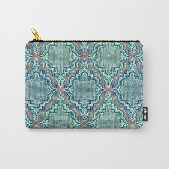 Marker Moroccan in Aqua, Cobalt Blue, Taupe & Teal Carry-All Pouch