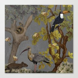 assembly of birds and one cute agouti Canvas Print