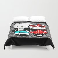 rockabilly Duvet Covers featuring Rockabilly Kitty by BURPdesigns