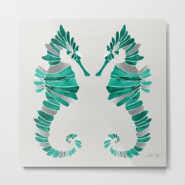 Seahorse – Silver & Turquoise Metal Print