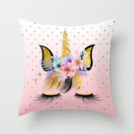 Floral Unicorn  Throw Pillow