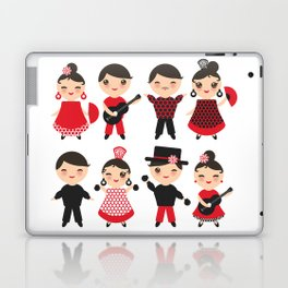 Spanish flamenco dancer. Kawaii cute face with pink cheeks and winking eyes. Gipsy Laptop & iPad Skin
