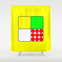tour de france Shower Curtains featuring Tour de France Jerseys 3 Yellow by The Learning Curve Photography