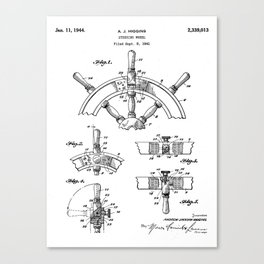 Ships Wheel Patent - Boat Wheel Art - Black And White Canvas Print