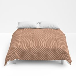 Ligonier Tan SW 7717 Tiny Uniform Polka Dot Pattern 1 on Cavern Clay SW 7701 Comforters