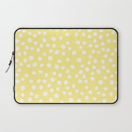 Pastel yellow and white doodle dots Laptop Sleeve