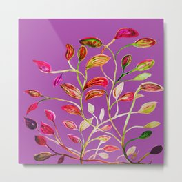For Valentine's Day Enjoy Purple Plum, Red and Green Leaves! Metal Print