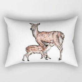 Mom and Baby Deer Rectangular Pillow