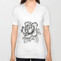 peony V-neck T-shirts featuring Peony by Emma Heller
