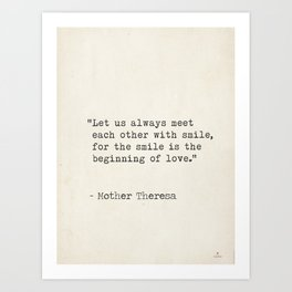 Mother Theresa quote Art Print
