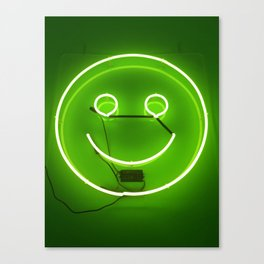 GREEN SMILE NEON SIGN Canvas Print