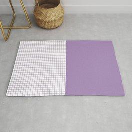 Mid-Century Stripes and Squares Purple Lavender White Rug