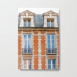 Brickwork and Window Balconies. Paris, France Metal Print