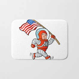 Astronaut with american flag Bath Mat