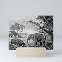 Mammoth and Wool Rhino vintage illustration Mini Art Print