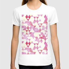 Abstract Pink Triangles, Watercolor Pattern T-shirt
