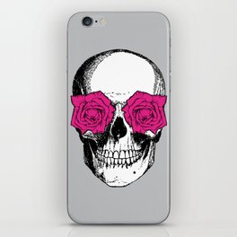 Skull and Roses   Grey and Pink iPhone Skin