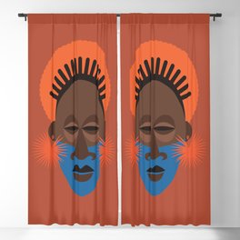 African Terracotta Traditional Mask Tribal Afrocentric Ethnic Blackout Curtain