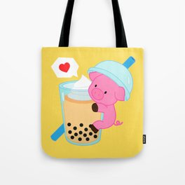 Pig with Yellow Bubble Tea Tote Bag