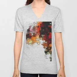 Orange Nordic / Scandinavian Art in Abstract Style Unisex V-Neck