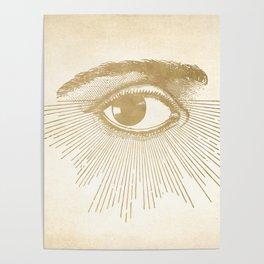 I See You. Vintage Gold Antique Paper Poster