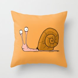 Funny snail with silly face expression Throw Pillow