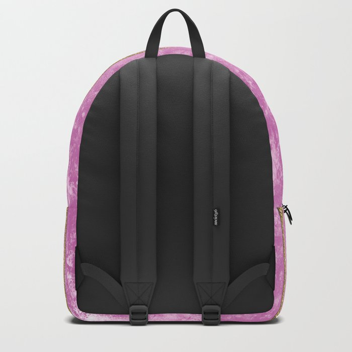 Abstract Painting with Golden Stripes - Pink Backpack