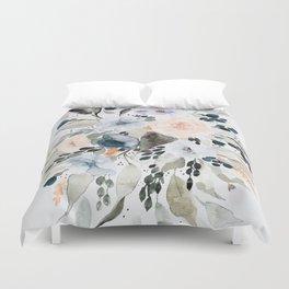 Loose Blue and Peach Floral Watercolor Bouquet  Duvet Cover