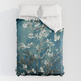 Van Gogh Almond Blossoms : Dark Teal Bettbezug