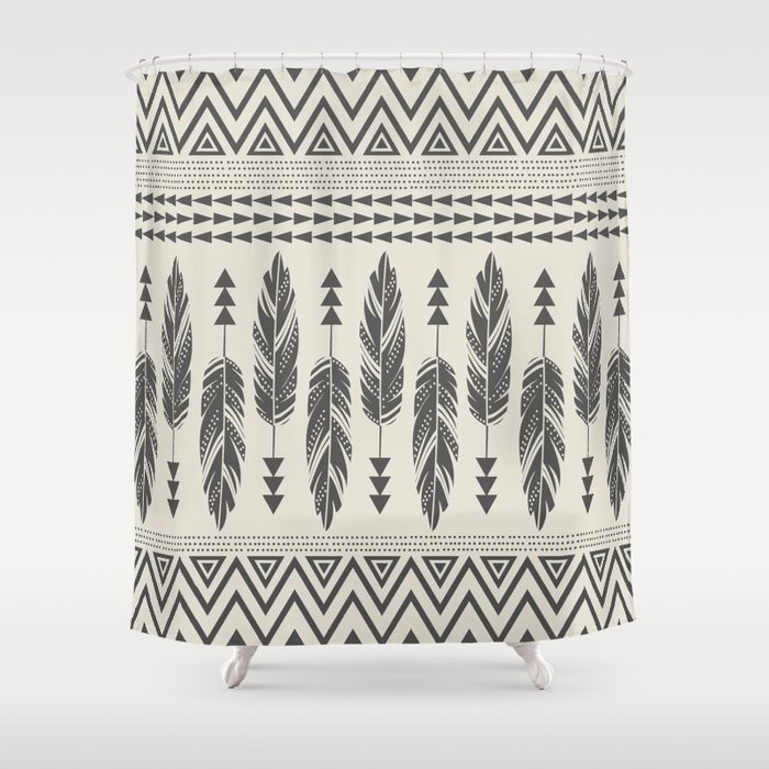 Tribal Feathers Black Cream Shower Curtain