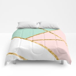 Blush, Mint, White Geo with Gold #1 #minimal #decor #art #society6 Comforters